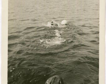 Vintage Photo of Swimmer in Water Out of Frame Friend, 1940's Original Found Photo, Vernacular Photography