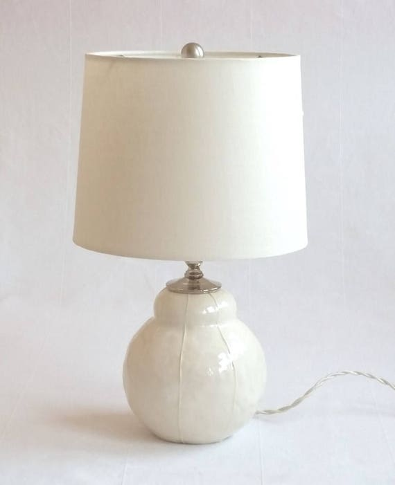 Short Bedside Table bedside table lamp. short round ceramic base. modern pottery