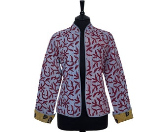 KANTHA JACKET - Large - Short style - Size 12/14 - Pale blue and red. Reverse olive and black