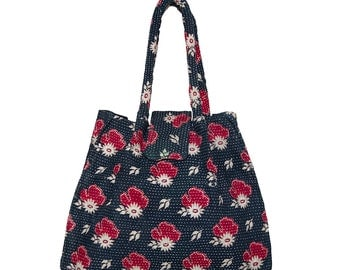 KANTHA Bag - Small - Black with pale beige and red flower design