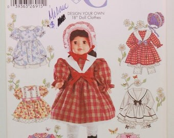 """Simplicity Crafts 5420 (c.2003) Design Your Own 18"""" Doll Clothes, Gift Idea, 18 Inch Doll, Doll Dress, Doll Pantaloons, Historical Dress"""