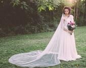 bridal veil, long wedding veil, ivory veil, chapel length veil, cathedral veil, bohemian veil, boho bridal veil, long ivory veil - TALITHA