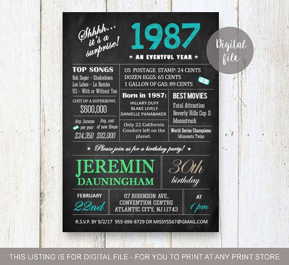 Surprise 30th Birthday Invitations Chalkboard 30th birthday – Surprise 30th Birthday Invites