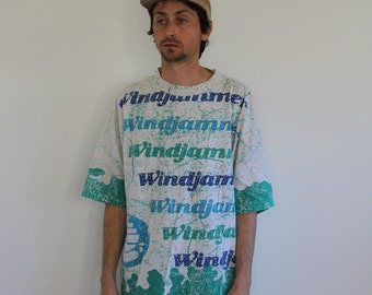 Windjammer Sailboat All Over Print 90s Shirt Mens Medium