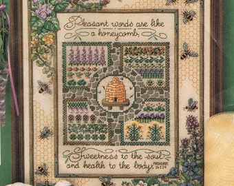 CROSS STITCH PATTERN - Pleasant Words Are Like A Honeycomb Cross Stitch  - Christian Cross Stitch - Beehive Cross Stitch - Bees & Flowers