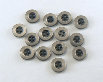 """12 - 7/16"""" Grey Buttons - Plastic Pearly Dark Grey Buttons  - 4 Hole Buttons - 11 mm Flat Sewing Buttons - Small Grey Buttons #GR-05-03"""
