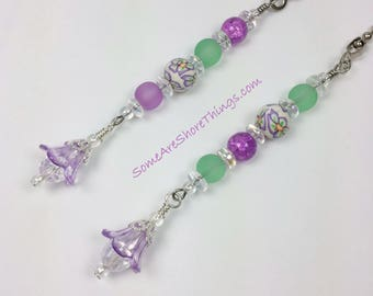 Ceiling Fan and Light Pull Chains Set with Glass Purple and Green Flower Themed Beads.  Nursery or Bedroom Decoration. Garden Theme.
