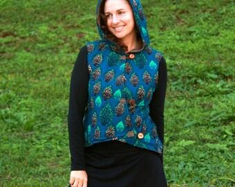 HOODED WAISTCOAT, Handmade, African Fabric, Natural Buttons, Fleece Lined, Hoodie, Australian Made