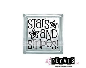 STARS and STRIPES! - Patriotic Military Vinyl for Glass Blocks - USA Craft Decals