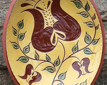 Three Tulips Sgraffito Bowl  - Pennsylvania German Redware Pottery -  SG514