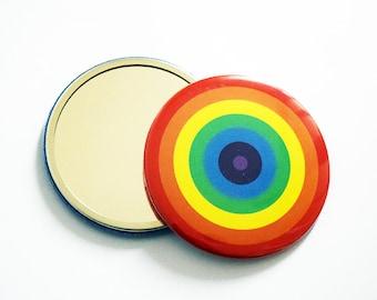 Super Cute Rainbow Concentric Circle Design Pocket Mirror