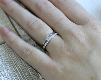 Lab diamond Stacking rings - Radiant solitaire ring and half eternity band - available in white gold or Silver
