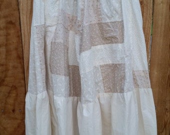 Large White Cotton Patchwork Skirt