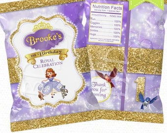 """Sofia the First Treat Bag Printable, Candy Bag, Chip Bag, Party Bags Travel   Style 93   Any Age   Girl   4.5"""" x 7""""- YOU PRINT"""