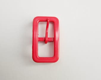 Pinkish red vintage belt buckle, prong belt buckle, sewing accessories, rectangular buckle, costume making, mod accessories, Mad men.