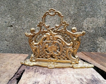 Gold Filigree Art Nouveau Style Letter Holder Desk Accessory