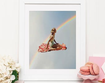 Rainbow print - Rainbow pop art poster - Retro wall art