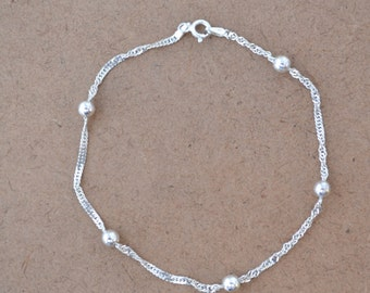 Sterling Silver Bracelet With Five Silver Balls FAS Italy For Wrist or Ankle  3 Grams