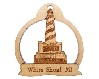 White Shoal Lighthouse Ornament - Lake Michigan - White Shoal Light Station - Michigan Gifts