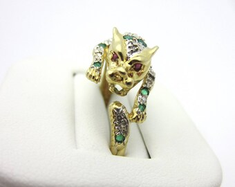 Estate Emerald and Diamond Leopard Ring 10k Two Tone Gold Sz 8.75
