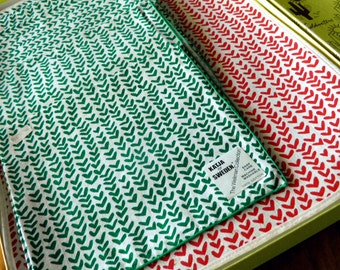 Set of 6 Katja Sweden (Katja Ingergard Geiger) Reversible Christmas Placemats & Napkins--Original Stickers + Goldwaters Box--MINT!