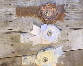 Embellished Flower Lace Headband | Vintage Shabby-Chic Headband for Infant or Toddler