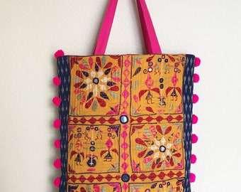 Kutch Embroidered Quilted Tote Bag