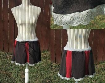 Short Skirt, red and black skirt, mini skirt, upcycled skirt, recycled skirt, striped skirt, fall fashion, flirty skirt, goth style, ooak