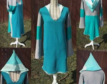 Pixie Dress, teal dress, tunic dress, pullover, pixie jacket, spring fashion, light jacket, unique dress, upcycled, eco friendly, hoodie