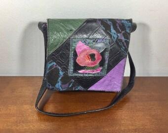 Pinky, Patchwork Leather Purse, Black, Lavender, Green, Rose, Shoulder Bag