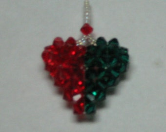 SWAROVSKI CRYSTAL 3-D Puffy Heart Pendant in Light Siam and Emerald, Side by Side Two Tone Colors