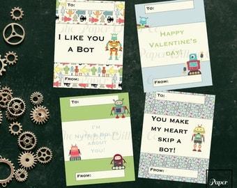 Robots 01-DIY Printable-Holiday Card-INSTANT DOWNLOAD-Holidays-Valentine-Geek-Nerd-Robots