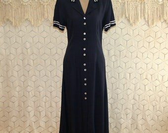 90s Navy Blue Sailor Dress Large Short Sleeve Button Up Casual Day Dress Tea Length Womens Dresses 1990s Vintage Clothing Womens Clothing