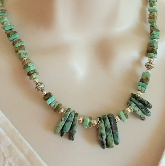 Sterling Silver and African Turquoise Necklace set, Gemstone necklace, Turquoise Jewelry, Gift for her, Free Shipping use code: SHIPFREE