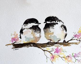 ORIGINAL Watercolor Painting, Romantic Chickadee Couple, Valentines Day 4x6 inch