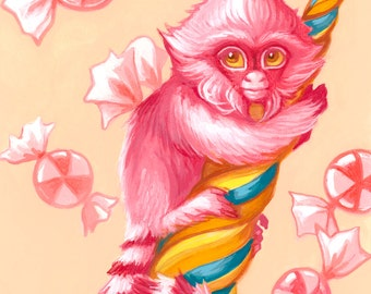 Baby Marmoset print by Angel Hawari, baby monkey, pink, candyland, cute and fluffy