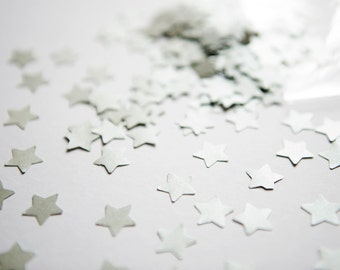 300 Silver Star Confetti. A set of silver Stars for wedding decor, baby shower, party decor. Die cut star confetti - Silver bridal shower