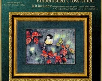 CROSS STITCH - EMBELLISHED; chickadee and autumn leaves, image printed on canvas, floss and needle included, kit,