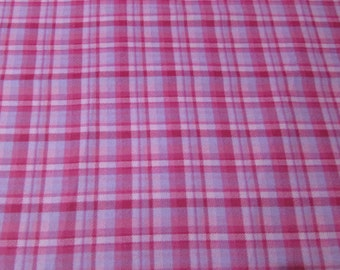 Flannel Fabric - Pink with Lavender Plaid - 1 yard - 100% Cotton Flannel