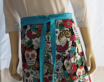 Coloring book skulls apron with pockets, handmade half apron, reversible teal blue apron