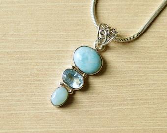 Petite Triple Stone Larimar & Blue Topaz Pendant // Larimar Jewelry // Blue Topaz Jewelry // Sterling Silver // Village Silversmith