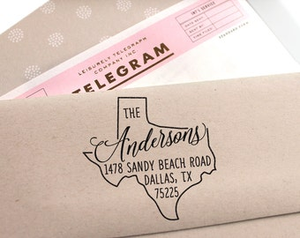 Personal return address stamp with a modern brush font for - Return gifts for housewarming party ...