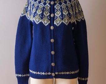 vintage 1950s sweater / 50s fair isle cardigan / medium / Early Spring Sweater