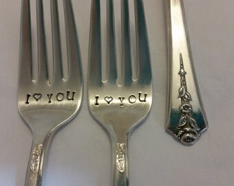 Wedding forks silver plated 1949 Vintage Silverware Recycled Hand stamped bit wonky I Heart YOU Silver forks OOAK wedding gift Real Photos