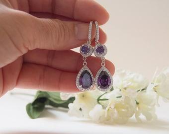 Bridesmaid Earrings, Amethyst CZ Teardrop Hook Earrings, Waterdrop Earrings, Pear Shaped Drop Earrings, Dangle, Bridal, Wedding-17S39E