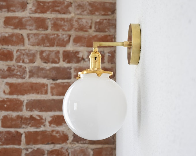 """Free Shipping! Gold Brass 1 Light Wall Sconce White Opal 8"""" Globe Vanity Century Industrial Modern Art UL Listed"""