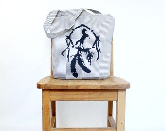 Southwestern Dreamcatcher Canvas Tote Rustic Horse Tote Denim Striped Ticking Tote Reusable Shopping Bag Southern Navy and White Stripe