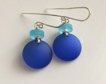 Aqua and Cobalt Blue Sea Glass Earrings / Cultured Sea Glass / Beach Glass / Sterling Silver Earrings
