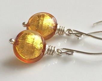 Golden Yellow Venetian Glass Earrings / Yellow Puffy Glass Discs / Murano Glass / Amber Yellow Glass Earrings / Sterling Silver Earrings