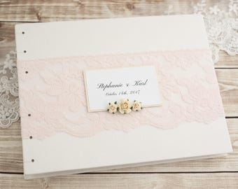 Wedding Guest Book, Photo Guest Book, Instant Photo, Ivory and Pink, Blush, Romantic Guest Book, Sign in Book, Coptic Stitch, MADE to ORDER